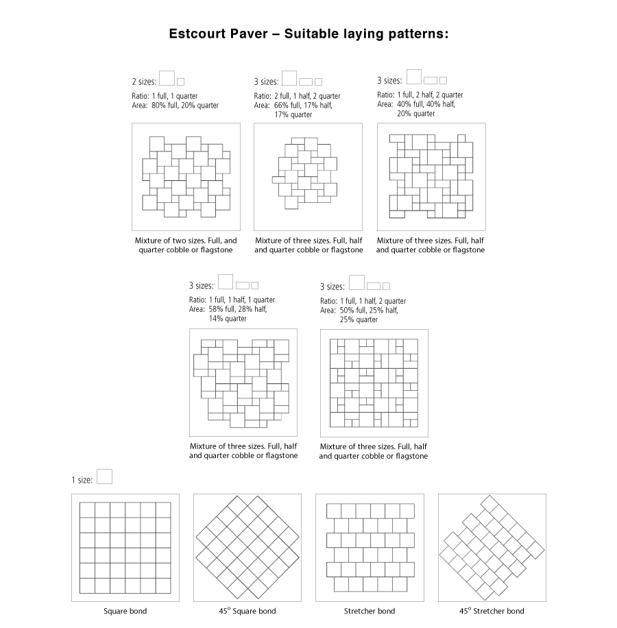 Estcourt paver suitable laying pattern line drawings