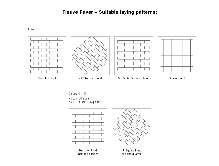 Fleuve paver suitable laying pattern line drawings