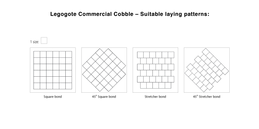 Legogote Commercial Cobble suitable laying pattern line drawings