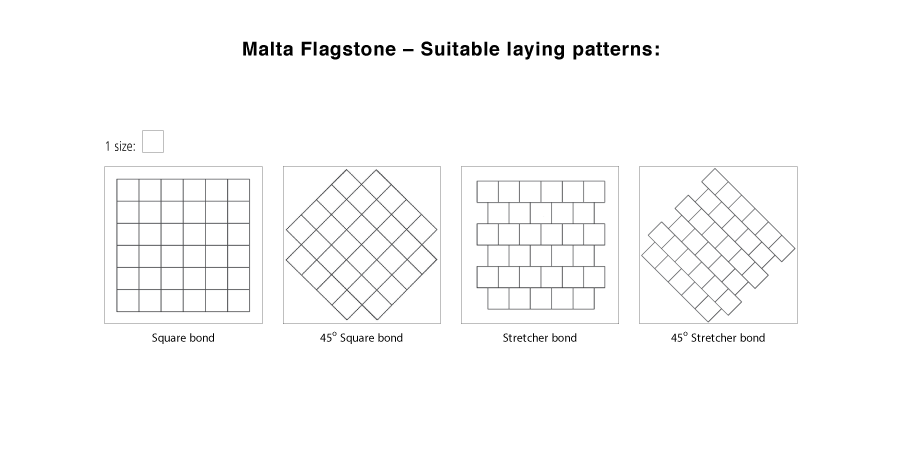 Malta flagstone suitable laying pattern line drawings