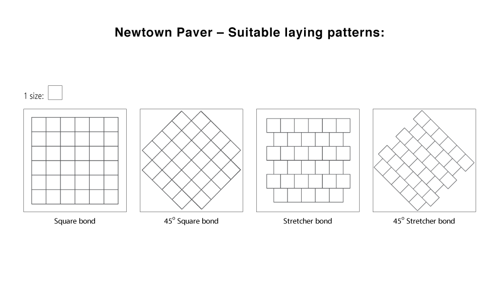 Newtown paver laying patterns line drawings