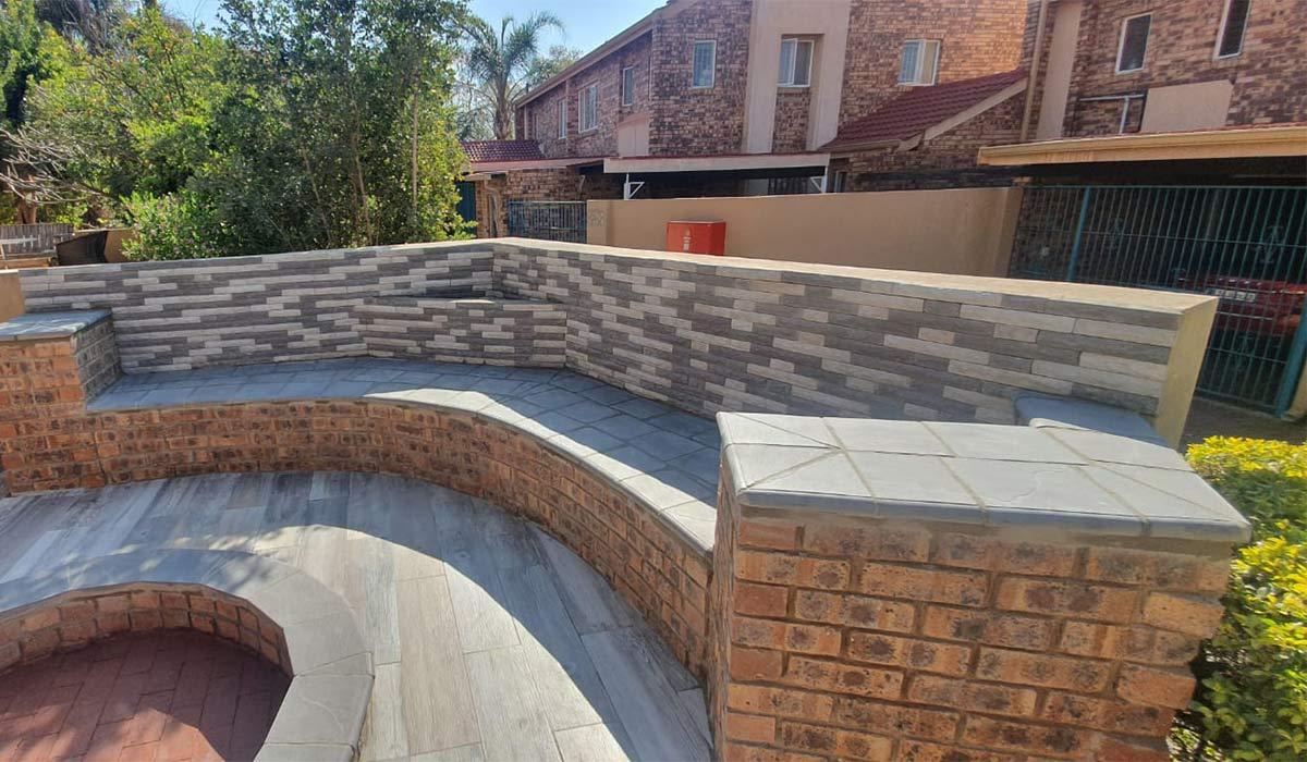 Smartile Coping installed around a fire pit