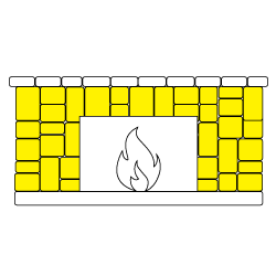Cladding installed along the walls around a fireplace sketch